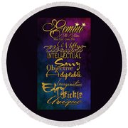 Pesonality Traits Of A Gemini Round Beach Towel by Mamie Thornbrue