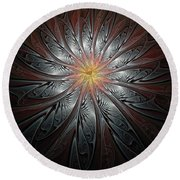Petals In Pewter Round Beach Towel