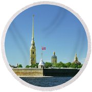 Peter And Paul Fortress. Saint Petersburg, Russia Round Beach Towel