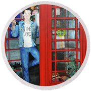 Peter Capaldi Dr Who Putting You Through Round Beach Towel