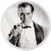 Peter Cushing As Sherlock Holmes Round Beach Towel