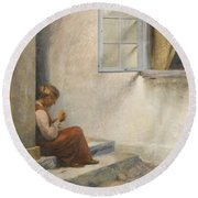 Peter Ilsted Danish, 1861-1933, On The Porch, Liselund Round Beach Towel