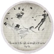 Peter Pan Quote Round Beach Towel