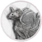 Peterbald Kitten 01 Round Beach Towel