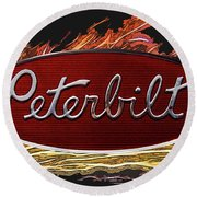 Peterbilt Emblem In Flames Round Beach Towel