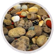 Petoskey Stones With Shells Ll Round Beach Towel