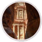 Petra Treasury Revealed Round Beach Towel