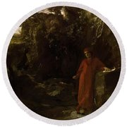 Petrarch By The Fountain Of Vaucluse Round Beach Towel