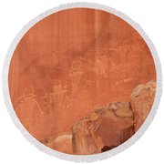 Petroglyphs In Capital Reef Round Beach Towel