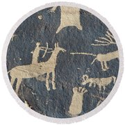 Petroglyphs, Utah Round Beach Towel
