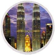 Petronas Towers Round Beach Towel