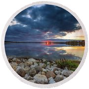 Pewaukee Lake Trail Round Beach Towel