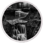 Pewits Nest Waterfalls In Black And White Round Beach Towel