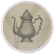 Pewter Coffee Pot Round Beach Towel