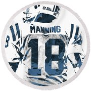 Peyton Manning Indianapolis Colts Pixel Art Round Beach Towel