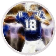 Peyton Manning Round Beach Towel by Paul Ward