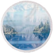 Phantom Ship Island In Mist At Crater Lake Round Beach Towel