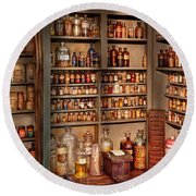 Pharmacy - Get Me That Bottle On The Second Shelf Round Beach Towel by Mike Savad