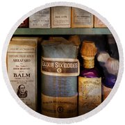 Pharmacy - Oils And Balms Round Beach Towel by Mike Savad