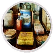 Pharmacy - Cough Remedies And Tooth Powder Round Beach Towel