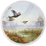 Pheasants In Flight  Round Beach Towel