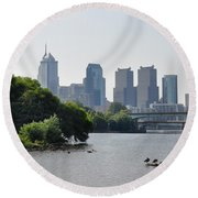 Philadelphia Along The Schuylkill River Round Beach Towel