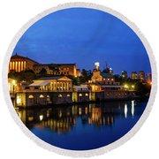 Philadelphia Art Museum - City Lights Round Beach Towel