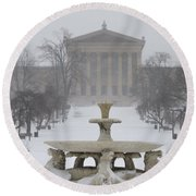 Philadelphia Art Museum From The West In Winter Round Beach Towel