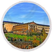 Philadelphia Art Museum From West River Drive. Round Beach Towel