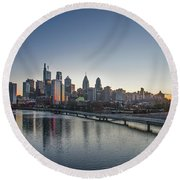 Philadelphia At Dawn From The South Street Bridge Round Beach Towel