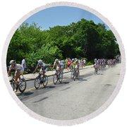 Philadelphia Bike Race - Manayunk Avenue Round Beach Towel