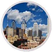 Philadelphia Blue Skies Round Beach Towel by Bill Cannon