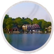 Philadelphia Boat House Row Round Beach Towel by Bill Cannon