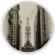 Philadelphia City Hall From South Broad Street Round Beach Towel