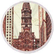 Philadelphia City Hall - Pencil Round Beach Towel