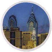Philadelphia City Hall Skyline Round Beach Towel