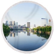 Philadelphia Cityscape Along The Schuylkill River Round Beach Towel