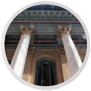 Philadelphia Classical Pillars - Looking Up Round Beach Towel