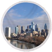 Philadelphia From The South Street Bridge Round Beach Towel by Bill Cannon