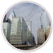 Philadelphia - Looking Up Jfk Blvd Round Beach Towel by Bill Cannon