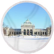 Philadelphia - Memorail Hall In Winter Round Beach Towel