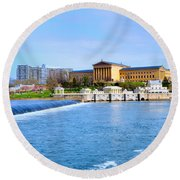 Philadelphia Museum Of Art And The Philadelphia Waterworks Round Beach Towel