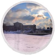 Philadelphia Museum Of Art At Winter Sunrise Round Beach Towel