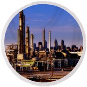 Philadelphia Oil Refinery  Round Beach Towel