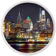 Philadelphia Philly Skyline At Night From East Color Round Beach Towel