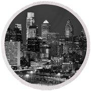 Philadelphia Skyline At Night Black And White Bw  Round Beach Towel