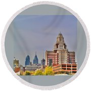 Philadelphia Skyline From Camden Waterfront Round Beach Towel