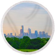 Philadelphia Skyline From West Lawn Of Fairmount Park Round Beach Towel by Bill Cannon