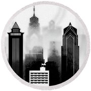 Philadelphia Skyline Graphic Work Round Beach Towel