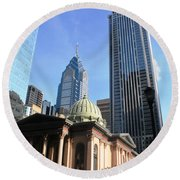 Philadelphia Street Level - Skyscrapers And Classical Building View Round Beach Towel